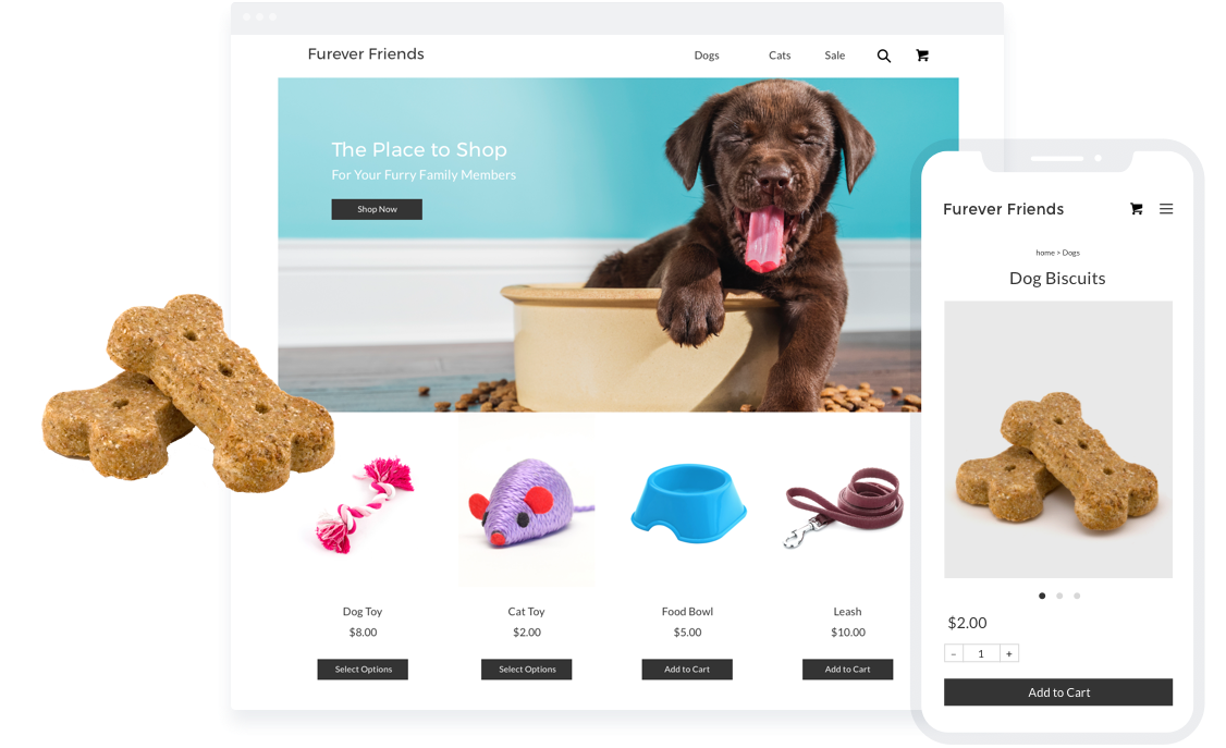 Sell pet supplies with an online store.
