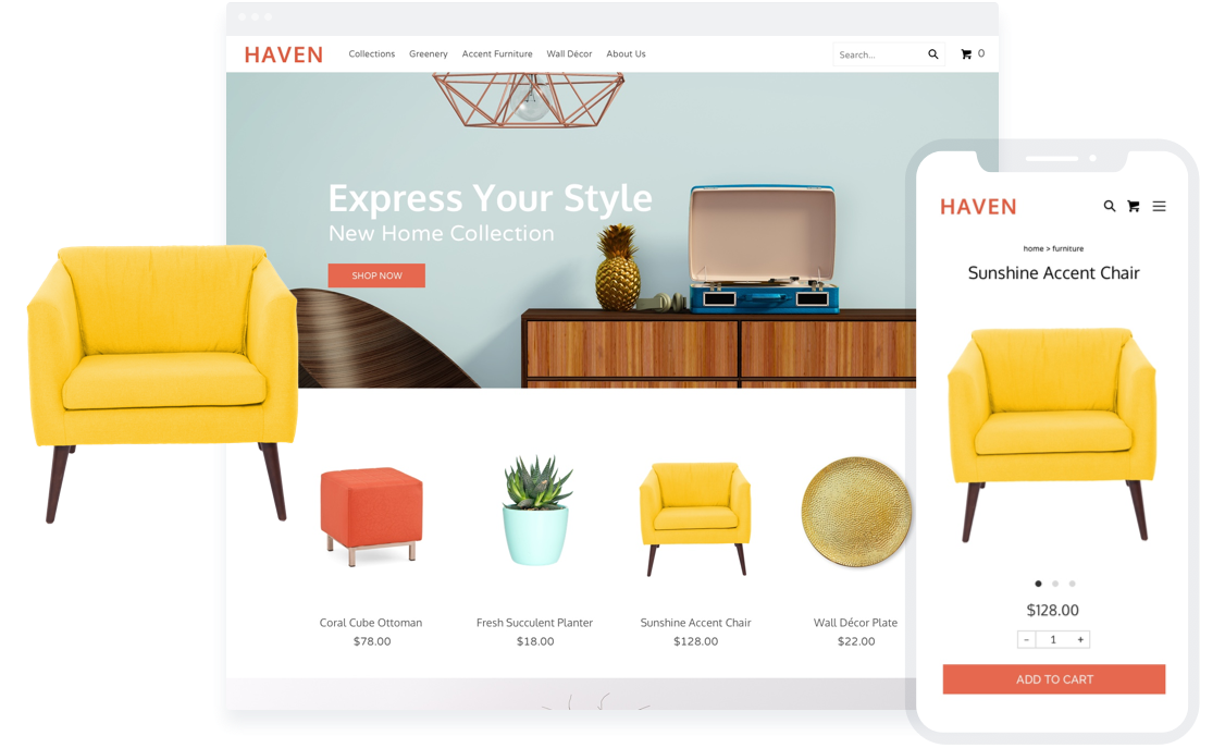 Sell home decor through an ecommerce store.