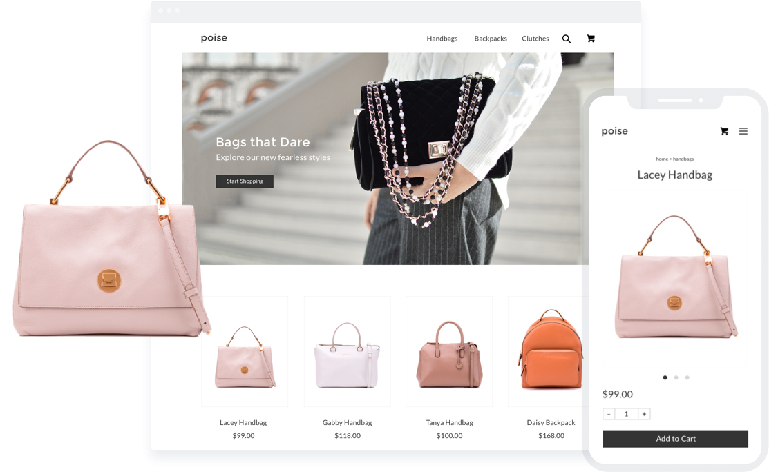 Sell handbags through an ecommerce store.